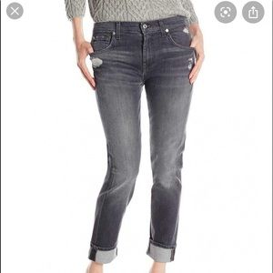 7 For All Mankind Gray Distressed Relaxed Jean 26